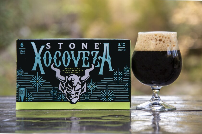 Stone's Xocoveza is a collaboration with Mostra Coffee and Belyzium Craft Chocolate.