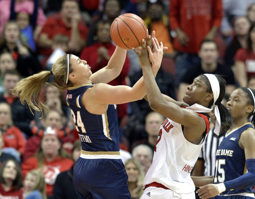 Louisville's Myisha Hines-Allen (2) battles with Notre Dame's Hannah Huffman (24) for the ball during the second half of an NCAA college basketball game, Sunday, Feb. 7, 2016, in Louisville Ky. (AP Photo/Timothy D. Easley)