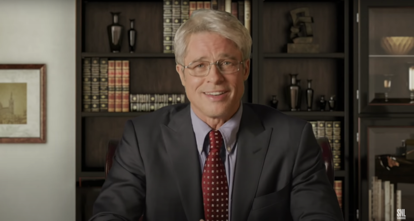 """Brad Pitt plays Dr. Anthony Fauci in a sketch from the second at-home episode of """"Saturday Night Live"""" on Saturday."""