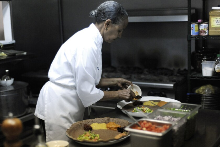Inside the kitchen of chef Genet Agonafer at her restaurant, Meals by Genet.