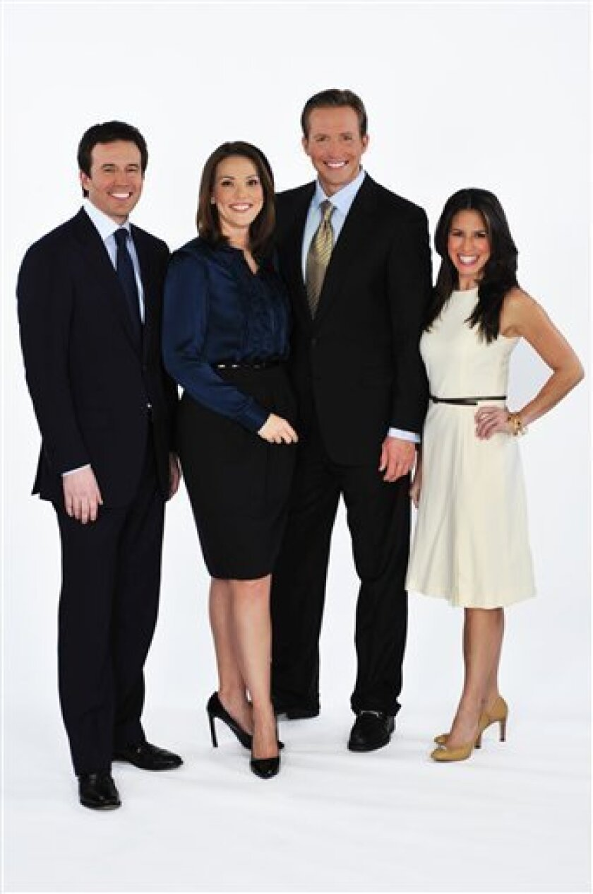 """FILE - In this undated file photo provided by CBS, from left, Chris Wraggem, Erica Hill, Jeff Glor, and Marysole Castro, pose together as the new CBS Early Show Team. As of Monday, Jan. 3, 2011 a new team takes over at CBS' """"The Early Show."""" The new lineup consists of former Saturday """"Early Show"""" anchors Chris Wragge and Erica Hill, as well as weathercaster Marysol Castro, formerly of ABC's """"Good Morning America"""" weekend edition. CBS News correspondent Jeff Glor is the news reader. (AP Photo/CBS News The Early Show, John P. Filo, File) NO SALES"""