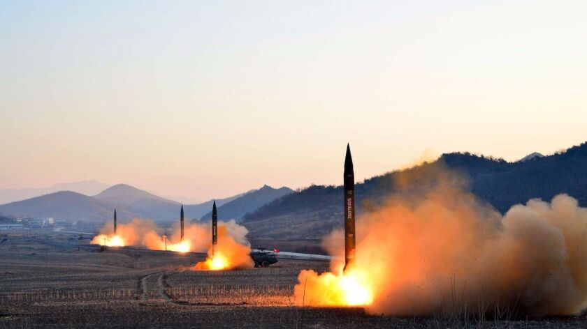 An image provided by state-run Korean Central News Agency shows the March 6, 2017, launch of four ballistic missiles during a military drill at an undisclosed location in North Korea.