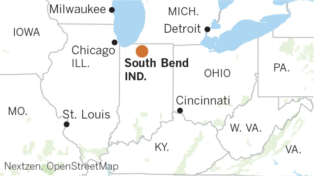Locator map of South Bend, Indiana