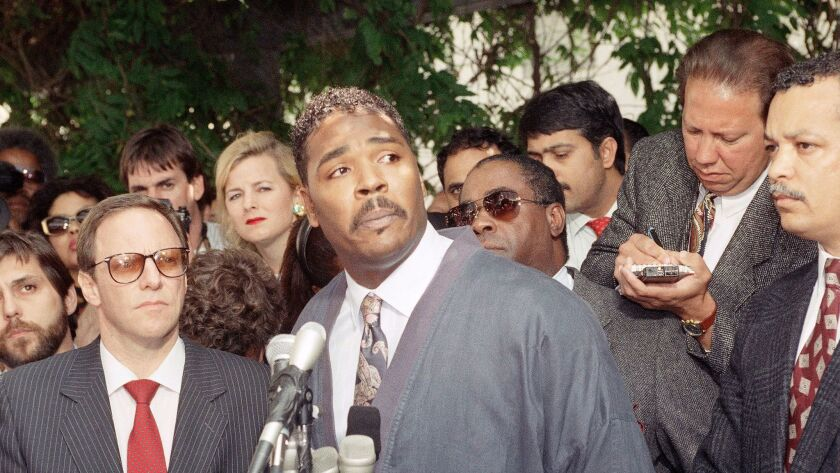 Rodney King speaks during a news conference on May 1, 1992 in Los Angeles, following the verdicts in the trial against four LAPD officers who beat him.