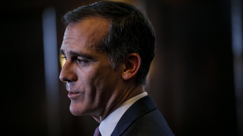 LOS ANGELES, CALIF. -- TUESDAY, JANUARY 29, 2019: L.A. Mayor Eric Garcetti announces that he will no