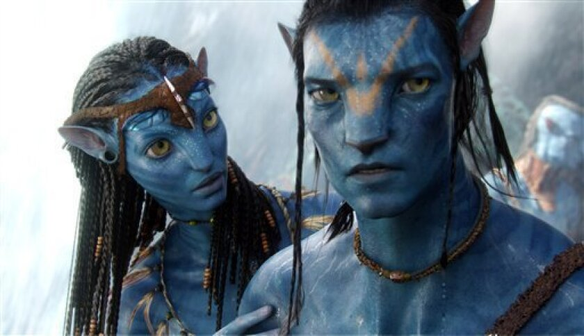 """In this film publicity image released by 20th Century Fox, the character Neytiri, voiced by Zoe Saldana, left, and the character Jake, voiced by Sam Worthington are shown in a scene from, """"Avatar."""" The film was nominated Tuesday, Feb. 2, 2010 for an Oscar for best picture. The 82nd Academy Awards will be presented on March 7. (AP Photo/20th Century Fox)"""