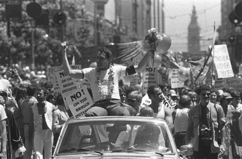 In this June 26, 1978, file photo, then-San Francisco Supervisor Harvey Milk is seen in San Francisco's seventh annual Gay Freedom parade.