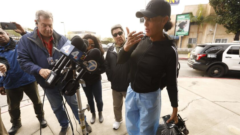 LOS ANGELES, CA - FEBRUARY 14, 2019 - - Shooting victim Zhoie Perez, 45, talks to media about being