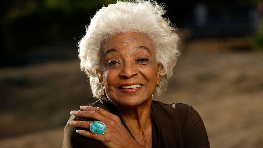 "Nichelle Nichols, on location in Malibu, where she was working on the movie ""Unbelievable!!!!"""