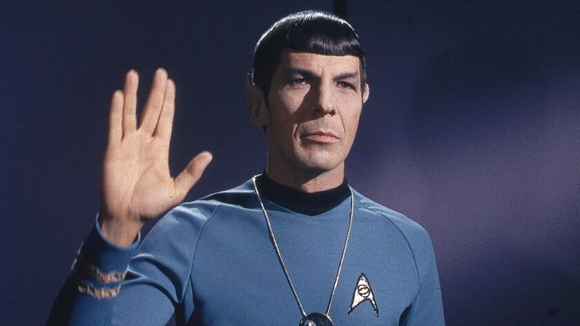 "Leonard Nimoy as Mr. Spock on ""Star Trek."""