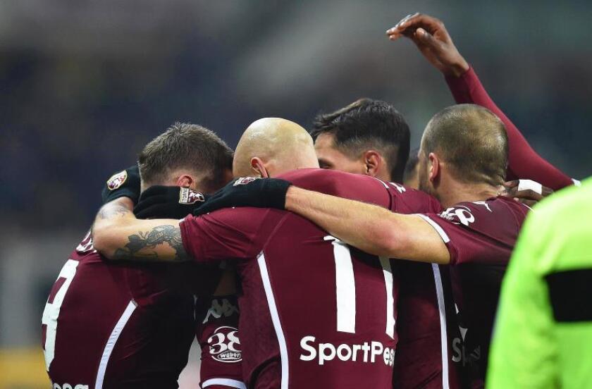 Los jugadores del Torino celebran el 1-0 ante el Inter Milan en Turín,Italia. EFE/EPA