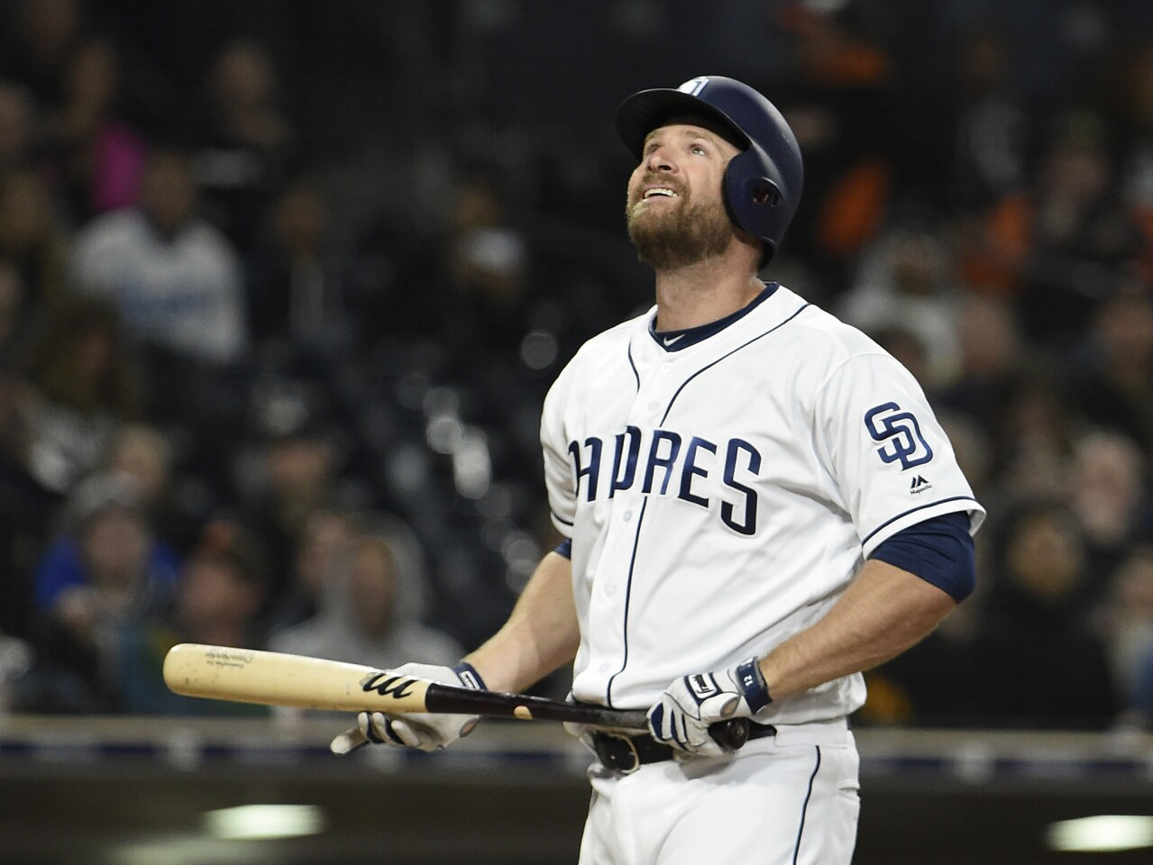 SAN DIEGO, CA - APRIL 4: Chase Headley #12 of the San Diego Padres looks up after taking a strike during the eighth inning of a baseball game against the Colorado Rockies at PETCO Park on April 4, 2018 in San Diego, California. (Photo by Denis Poroy/Getty Images) ** OUTS - ELSENT, FPG, CM - OUTS * NM, PH, VA if sourced by CT, LA or MoD **