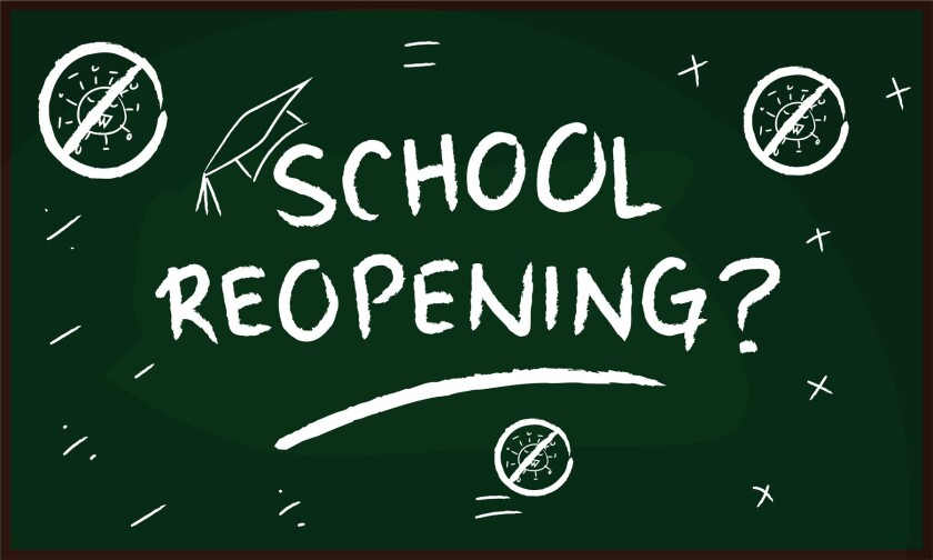school board with covid symbol and school reopening? message clip art