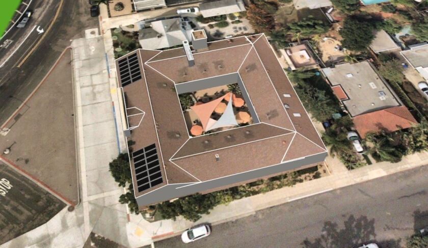 This artist's rendering shows the position of 30 planned solar panels for La Jolla Community Center's new roof (far left). The roof will be a slate gray color, not the brown tone pictured.