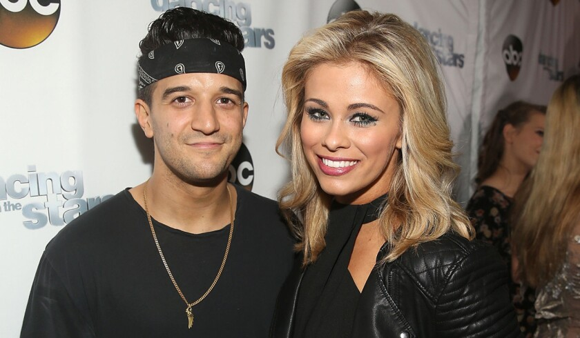 """Mark Ballas, left, and Paige VanZant attend the """"Dancing With The Stars"""" semifinals episode celebration at Mixology Grill and Lounge on May 16."""