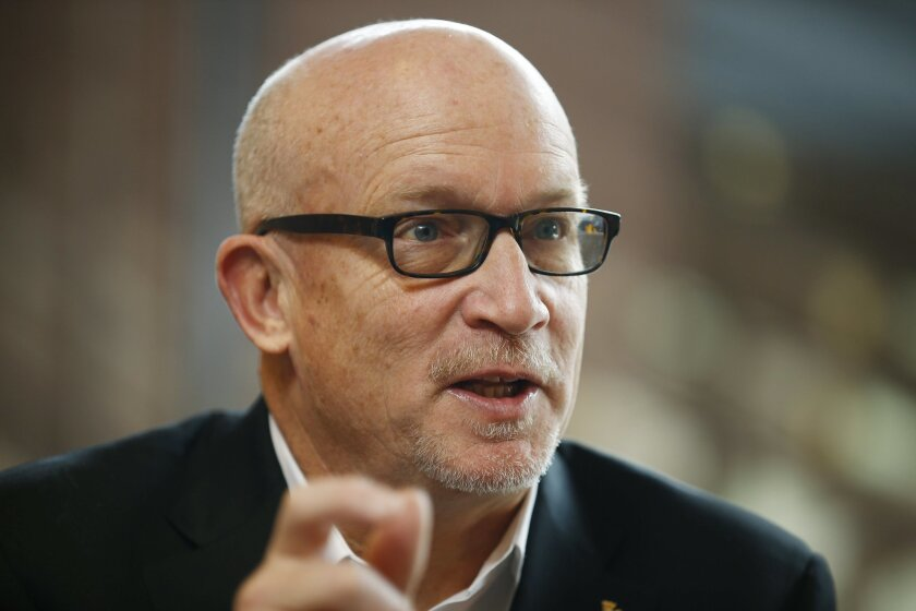 Alex Gibney, director of the FIlm 'Zero Days' answers questions during an interview with The Associated Press at the 2016 Berlinale Film Festival in Berlin, Germany, Wednesday, Feb. 17, 2016. Gibney said he wants a broader debate, particularly in the United States, about the role and regulation of