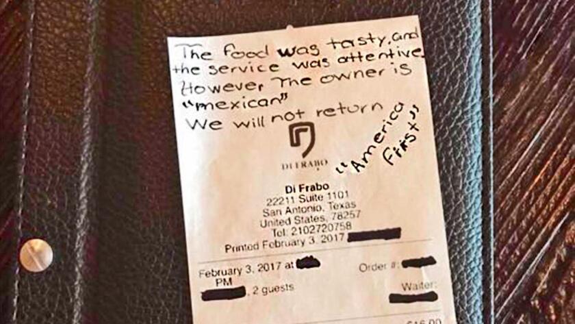 El mensaje que dejaron al mexicano dueño del restaurante.