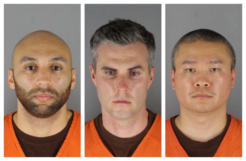 Ex-officers J. Alexander Kueng, from left, Thomas Lane and Tou Thao, were charged with second-degree murder of George Floyd.