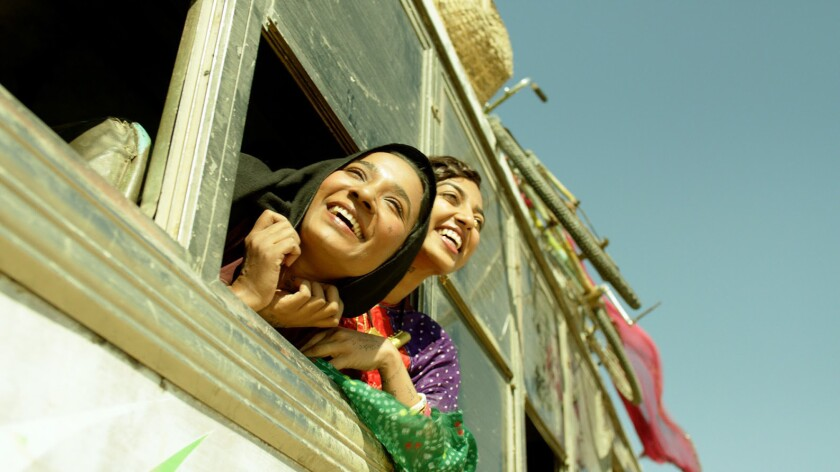 """Tannishtha Chatterjee and Radhika Apte in the movie """"Parched."""""""