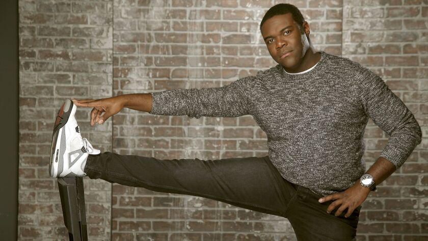 "Sam Richardson, part of the ""Veep"" ensemble, has a new show on Comedy Central, ""Detroiters."" Grooming by Shannon Pezzetta. Styling by Tiffani Chynel."