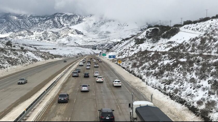 In this Feb. 18, 2019 photo released by the California Highway Patrol Central Division shows traffic