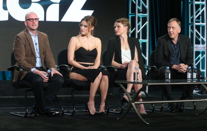 """Steven Soderbergh, from left, Riley Keough, Amy Seimetz and Lodge Kerrigan discuss """"The Girlfriend Experience"""" at the Television Critics Assn. winter tour."""