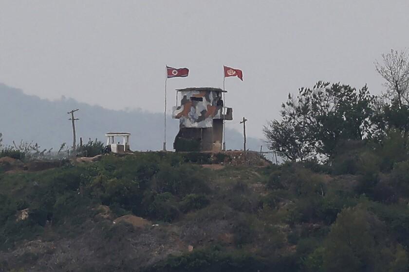 A South Korean military guard post at the border with North Korea.