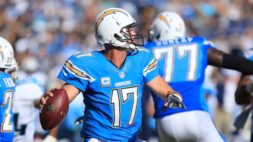 Chargers quarterback Philip Rivers facing-off against the Tennessee Titans on Sunday. The Chargers won and improved to 4-5.