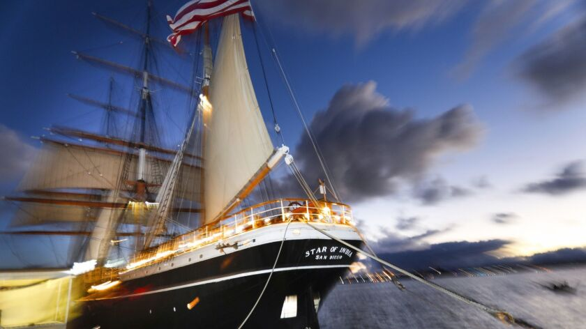SAN DIEGO, CA 10/4/2018: The Star of India at the San Diego Maritime Museum. Many say the storied