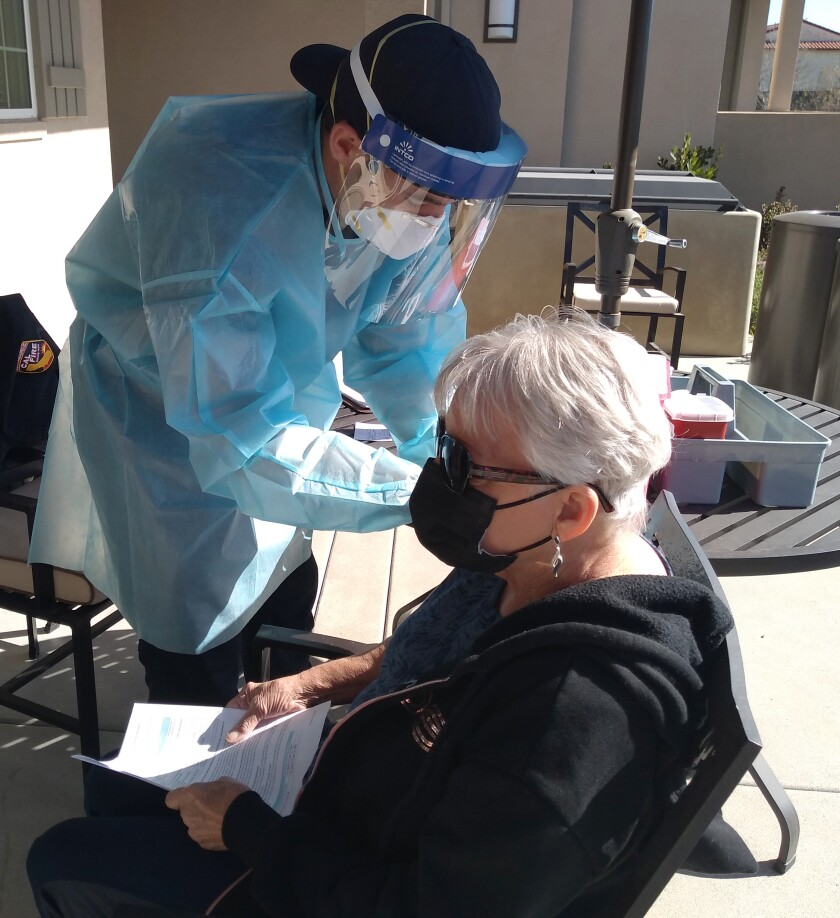 Schmale Family resident Gail Jones said the Cal Fire mobile vaccination clinic helped alleviate some of her health concerns.