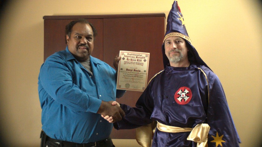 "Daryl Davis and a Ku Klux Klan member in the documentary ""Accidental Courtesy."""