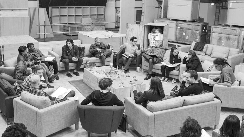 """J.J Abrams (top center, right) at the cast read-through of """"Star Wars: Episode VII"""" at Pinewood Studios."""