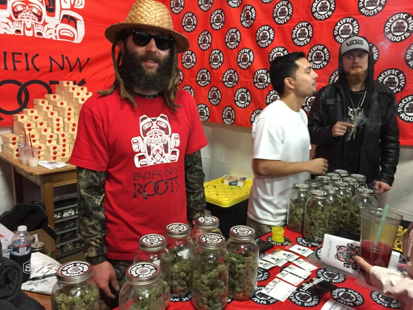 Selling prized cannabis seeds at the Emerald Cup, Ras Kaya Paul of the Washington state cultivator Pacific NW Roots