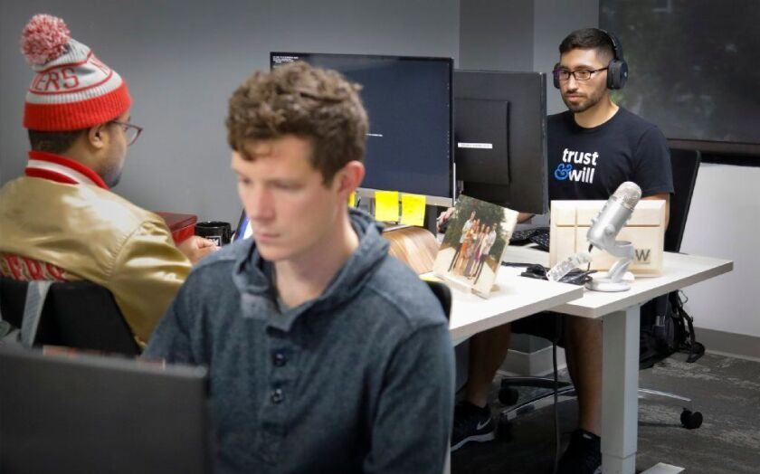 Junior developers at Trust & Will, Philip Taft-Dick, foreground, Taylor Lake, left, back to camera, and Devin Ledesma, right. The startup has a space at the Little Italy coworking space Downtown Works