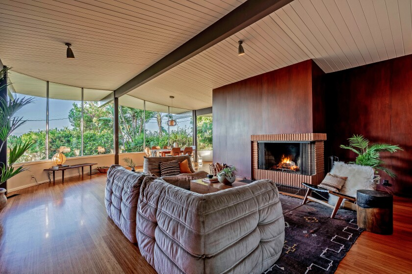 Glass walls enclose the living room of the 1958 Home of the Week in Sherman Oaks.