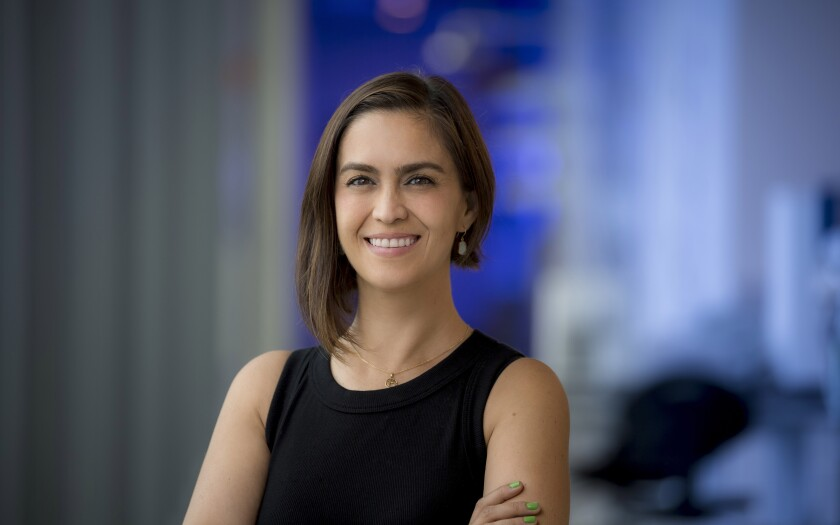 Elizabeth Villa, professor at UC San Diego, was selected as a Howard Hughes Medical Institute investigator in 2021.