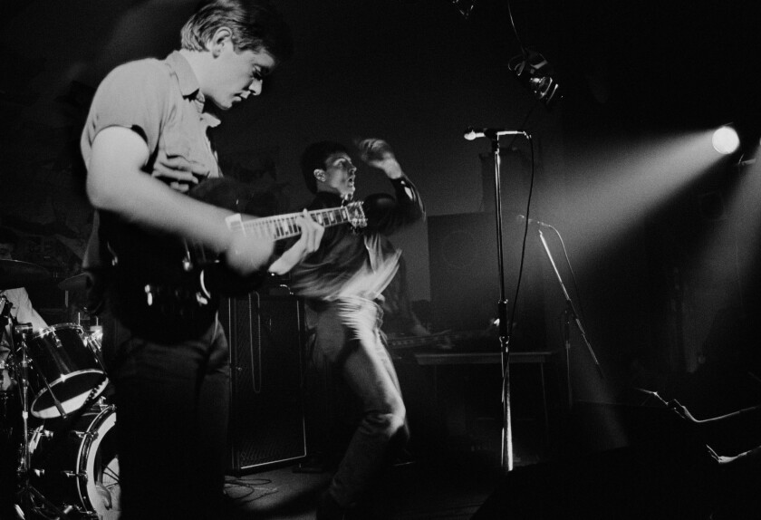 (L-R)- A photograph of Bernard Sumner and Ian Curtis from the band Joy Division at the New Osbourne