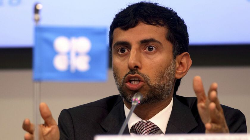 Minister of Energy of the United Arab Emirates, UAE, Suhail Mohamed Al Mazrouei attend a news confer