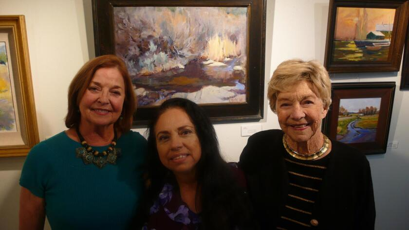 Salli Sachse, Pat Turgeon and Perrietta Hester at La Jolla Art Association's 'Contemporary Meets Classical' exhibit