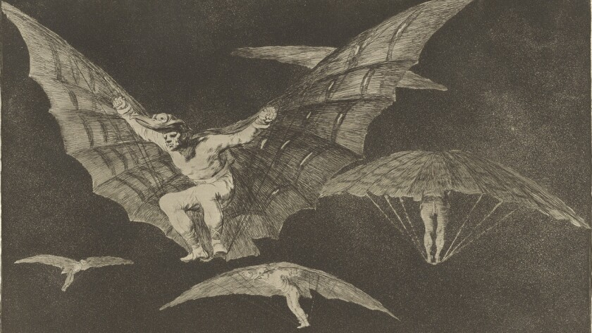 """""""A Way of Flying,"""" 1864, by Francisco José de Goya y Lucientes, on view in """"Noir: The Romance of Black"""" at the Getty Museum."""