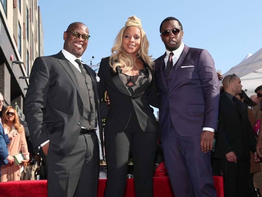 Andre Harrell, Mary J. Blige, and Sean 'Diddy' Combs at Mary J. Blige star ceremony in 2018 in Hollywood, California.