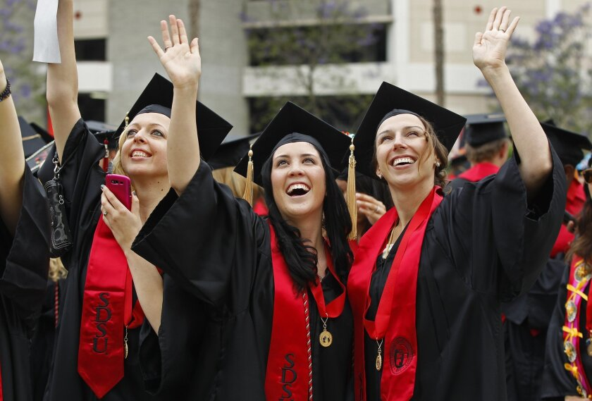 A plan from the former chief operating officer for the Office of Federal Student Aid that would give students vouchers to pay for college and grad school that don't need to be paid back. Pictured: Students graduating from San Diego State University.
