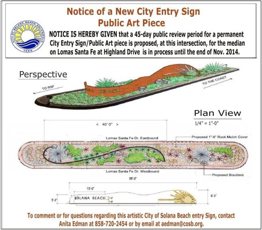 Proposal for a city entry sign for the east side of Solana Beach.