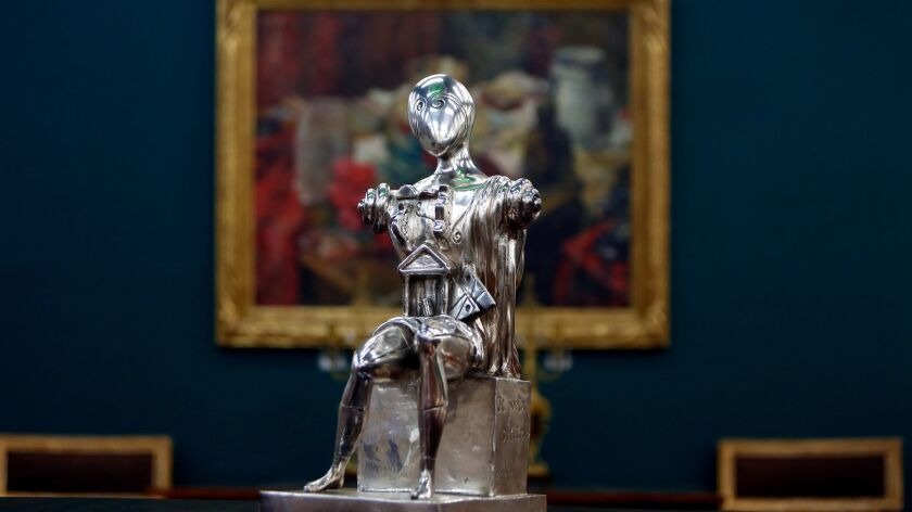 LOS ANGELES, CA-JUNE 25, 2019: A bronze with silvered patina art piece by Giorgio de Chirico is phot