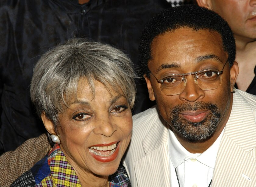 """FILE - In this June 29, 2009 file photo, actress Ruby Dee, left, and director Spike Lee attend a special 20th anniversary screening of """"Do the Right Thing,"""" in New York. Dee, an acclaimed actor and civil rights activist whose versatile career spanned stage, radio television and film, has died at age 91, according to her daughter. Nora Davis Day told The Associated Press on Thursday, June 12, 2014, that her mother died at home at New Rochelle, New York, on Wednesday night. (AP Photo/Peter Kramer, file)"""