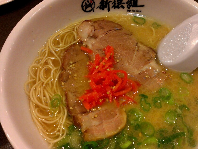 Hakata-style ramen at the newest location of Shin Sen Gumi, on Sawtelle Boulevard.