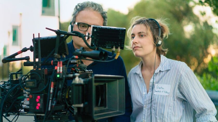 "This image released by A24 Films shows director Greta Gerwig on the set of ""Lady Bird."" Gerwig was n"