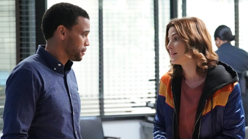 """Michael Ealy and Cobie Smulders in a new episode of the drama """"Stumptown"""" on ABC."""