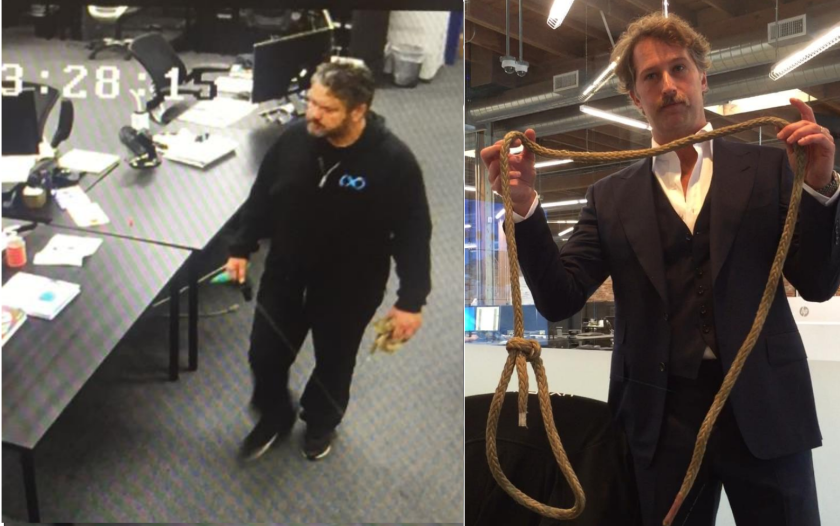 At left, according to a lawsuit, a screen grab from security camera footage shows Afshin Pishevar, then general counsel at Hyperloop One, holding a noose. At right, Brogan BamBrogan holds the rope after discovering it hours later.