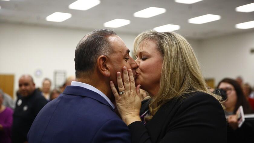 BUENA PARK, CALIF. - NOVEMBER 19: Congressman-elect Gil Cisneros (D-CA39) kisses his wife Jacki Cisn
